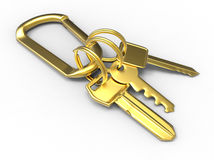 Golden house keys. 3D render illustration of multiple golden house keys. The object is isolated on a white background with shadows Stock Photos