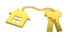 Golden house keys with golden trinket house isolated on white background. new home concept. Real estate. 3d rendering royalty free illustration