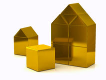 Golden house made of blocks 3d Stock Images