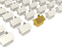 Golden house selected in estate Stock Image