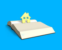 Golden house standing on opening book isolated in blue , 3D rend. Golden house standing on top of opening book isolated in blue background, 3D rendering Royalty Free Stock Image