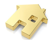 Golden house symbol Royalty Free Stock Images