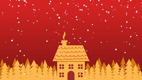 Golden house and trees in snowfall. Christmas background. Golden house and trees in snowfall. Christmas looping animation background stock video
