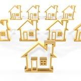 Golden houses. 3d golden house outline symbol on white background Stock Photos