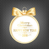 Golden hristmas ball. On transparent black background with holiday text. Happy New Year 2016 card over black background. Vector illustration Stock Images