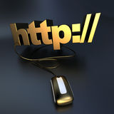 Golden Http connected to a mouse Royalty Free Stock Images