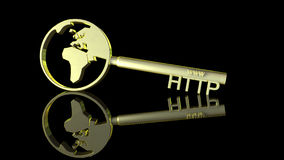 Golden http key. Golden key illustrating an www and http sign with a world symbol. Suitable for internet themed projects and web security concepts Stock Photography
