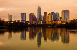 Golden Hue Austin Skyline Cityscape Reflection Stock Image