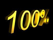 Golden hundred percent on black background 3d render. Sales financial concept stock illustration