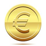 Golden icon of coin Euro on white background. Golden icon of coin Euro isolated on a white background. Illustration Royalty Free Stock Photos