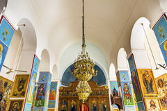 Golden Icons Frescoes Saint George`s Church Madaba Jordan. Golden Icons Frescoes Altar Chandelier Saint George`s Greek Orthodox Church Madaba Jordan.  Church was Royalty Free Stock Photography