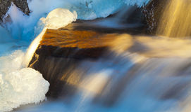 Golden Icy Cascade Royalty Free Stock Images