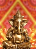 Golden Idol of Hindu Lord Ganesh Blessing Everyone Royalty Free Stock Photography