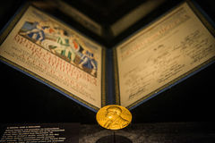 Golden image of the Nobel Prize Stock Images
