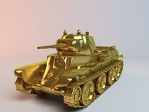 Golden imaginary 3d tank design. With much equipment's and weapons on it Stock Photo