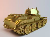 Golden imaginary 3d tank design. With much equipment's and weapons on it Stock Photos