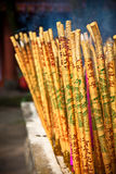 Golden incense sticks in chinese temple. Golden incense sticks in taoist temple, Leshan, China Royalty Free Stock Photography