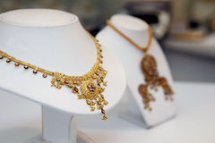 Golden indian jewellery Stock Photos