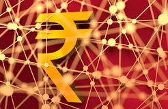 Golden Indian Rupee symbol. 3D rendering. Molecule And Communication Background Stock Image