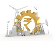 Golden Indian Rupee symbol. Energy and Power icons set on blueprint backdrop. Sustainable energy generation and heavy industry. 3D rendering. Golden material Stock Image