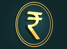 Golden Indian Rupee symbol. S on dark backdrop. 3D rendering Stock Photography