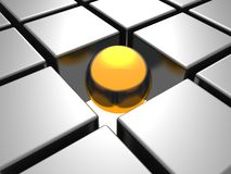 Golden individual  ball in others chrome cubes Stock Images