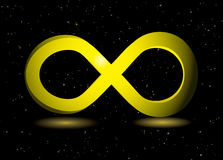 Golden infinity symbol. On black background and sparkling dust Royalty Free Stock Photo