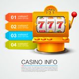 Golden info list slot machine wins the jackpot. Royalty Free Stock Images