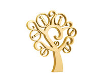 Golden information tree. Isolated on white background Stock Images