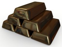 Golden ingot. Gold, it makes the world go 'round Royalty Free Stock Photo