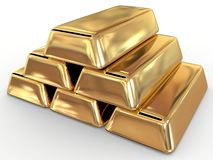 Golden ingot Royalty Free Stock Image