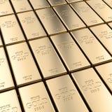 Golden ingot background. Classic gold ingot 3d rendering image Royalty Free Stock Image