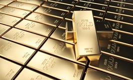 Golden ingot background. Classic gold ingot 3d rendering image Stock Photography
