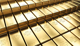 Golden ingot background. Classic gold ingot 3d rendering image Stock Image