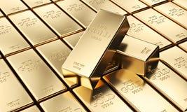 Golden ingot background. Classic gold ingot 3d rendering image Royalty Free Stock Images