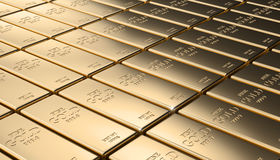 Golden ingot background. Classic gold ingot 3d rendering image Stock Images