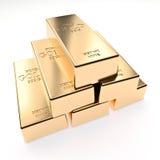 Golden ingot background. Classic gold ingot 3d rendering image Royalty Free Stock Photos