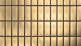 Golden ingot background. Classic gold ingot 3d rendering image Stock Photo