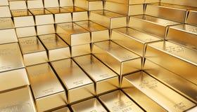 Golden ingot background. Classic gold ingot 3d rendering image Royalty Free Stock Photography