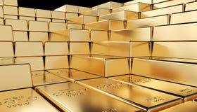 Golden ingot background. Classic gold ingot 3d rendering image Royalty Free Stock Photo