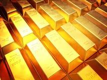 Golden ingot. Background 3d image Royalty Free Stock Photos