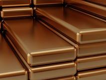 Golden ingots. Built golden bullions on heap royalty free illustration