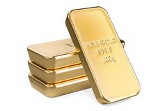 Golden ingots closeup, 3D rendering. Isolated on white background Royalty Free Stock Images