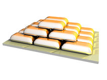 Golden Ingots pyramide Stock Photos