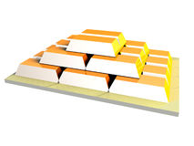 Golden Ingots pyramide 2 Stock Photography