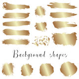 Golden ink borders, brush strokes, stains, banners, blots, splatters. Royalty Free Stock Photos