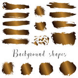 Golden ink borders, brush strokes, stains, banners, blots, splatters. Stock Images