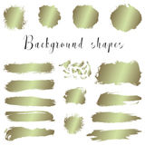 Golden ink borders, brush strokes, stains, banners, blots, splatters. Royalty Free Stock Image
