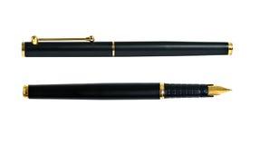 Golden ink fountain pen Stock Photos