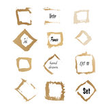 Golden ink square frames. Golden ink square frame border set. made in vector Royalty Free Stock Images